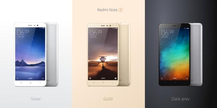 Xiaomi Redmi Note 3 kleuren
