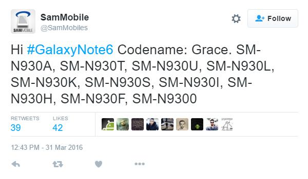 Samsung Galaxy Note 6 modelnummers