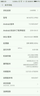 Xiaomi Mi Note 2 Pro specificaties