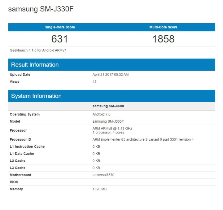 Samsung GalaxyJ3 GeekBench