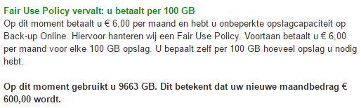 KPN Back-up Online fair use policy