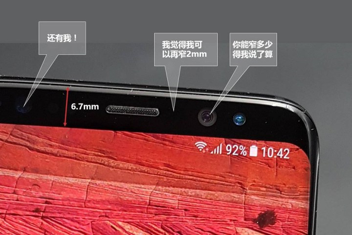 Samsung Galaxy Note 8 bovenkant