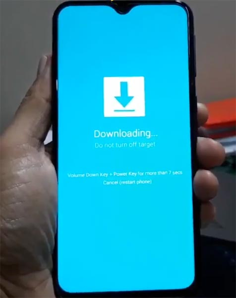 Samsung A50 Download Mode Warning Message
