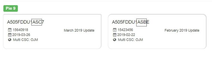 Samsung Galaxy A50 Firmware Details