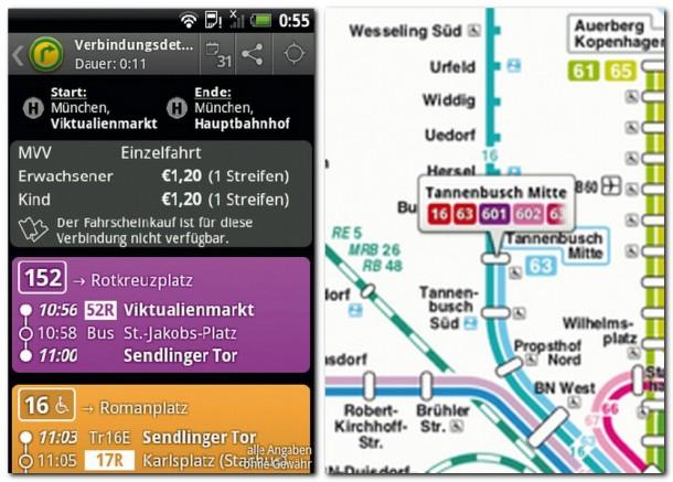Die Öffi -App kennt viele öffentliche Liniennetze unter anderem in Deutschland, Österreich und der Schweiz, die Vorschau der Strecke mit Preis und Zeitangaben sind auch ersichtlich.
