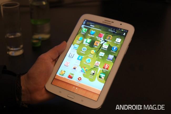 Samsung wartet mit der Präsentation des Galaxy S4 noch bis Mitte März, auf dem MWC wurde also nur das Note 8 gezeigt. Foto: androidmag.de