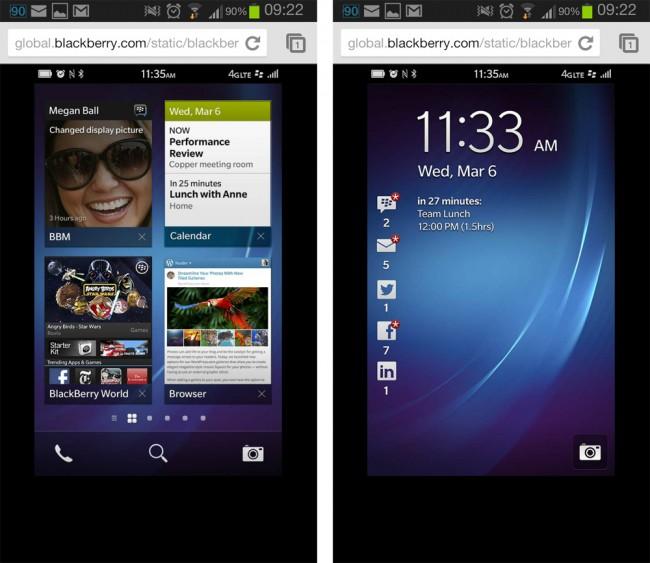 Blackberry hat eine Webseite ins Netz gestellt auf der Android Nutzer die Blackberry Oberfläche ausprobieren können. Foto: Androidmag.
