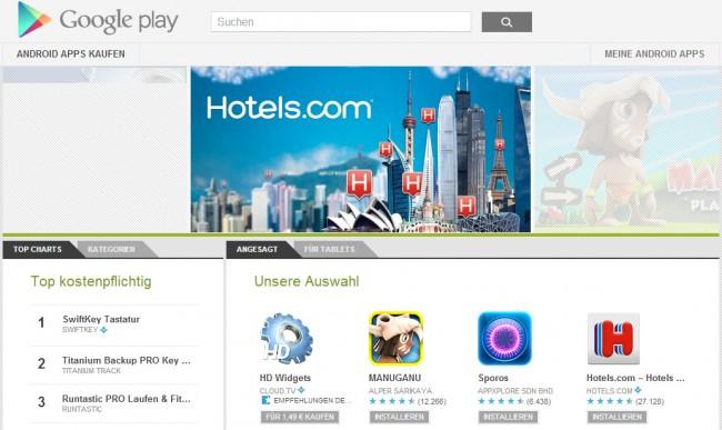 Der Google Play Store ist in Bezug auf Downloadzahlen der führende App-Market unter den Anbietern.