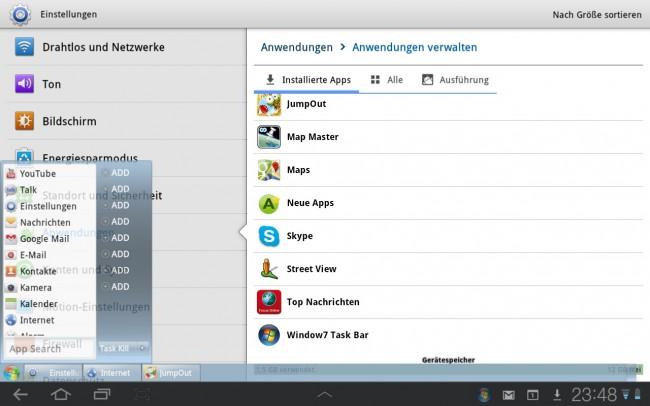 Mit Windows 7 Taskbar holst du dir eine Taskleiste und ein Start Menü im Stil von Windows 7 auf dein Tablet oder Smartphone.