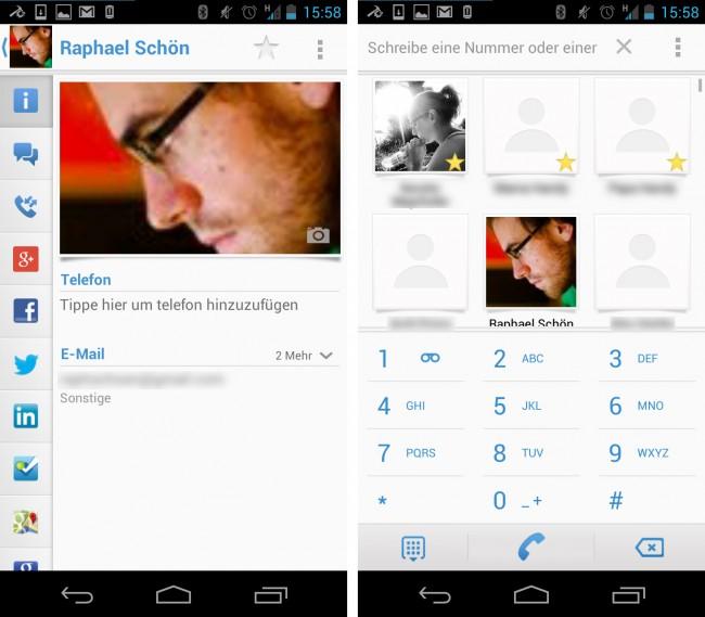 Alle Kontaktprofile, auch das eigene, lassen sich mit allerhand Social Media-Dienste verknüpfen. Zudem ist auch ein praktischer T9-Dialer (rechts) ist inkludiert.