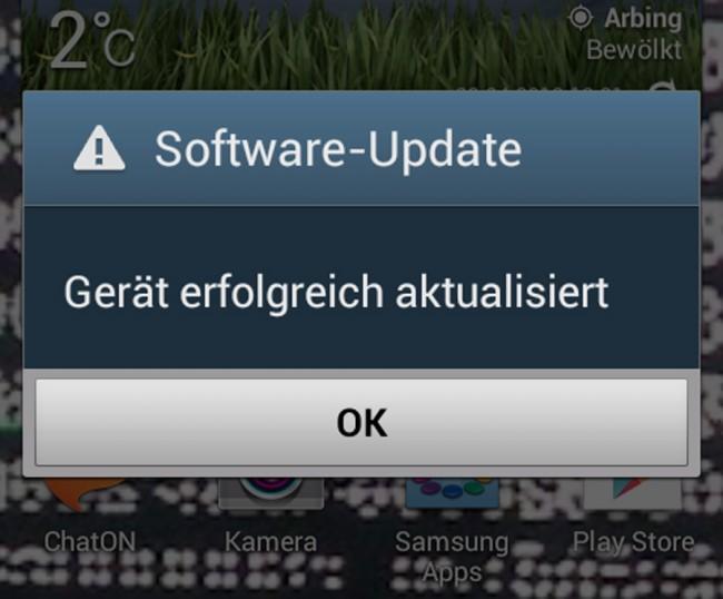 """Schnell noch ein Software-Update für verbesserte Stabilität installiert und schon beglückt uns Android mit der Meldung """"Gerät erfolgreich aktualisiert""""."""