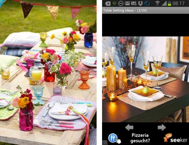 Die App Table Setting Ideas hilft dir bei der Suche nach der zum Anlass passenden Tischdekoration.