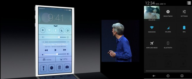 iOS 7 Command Center im Vergleich mit Android Benachrichtigungsleiste. Foto: Droidlife.com.