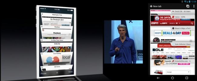 Auch beim mobilen Browser Safari hat sich Apple einiges von Google's Pendant Chrome abgeschaut. Die Vorschau der Tabs sieht sehr ähnlich aus, außer dass bei der iOS Variante ein stärkerer 3D-Effekt erkennbar ist. Foto: Droidlife.com.