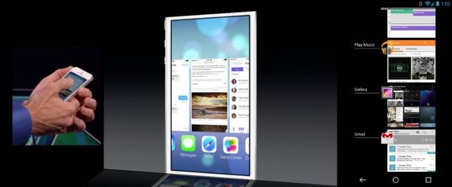 Multitasking löst Apple mit einer vertikalen Leiste in der alle geöffneten Apps der Reihe nach aufgelistet sind. Android setzt schon seit längerem auf eine horizontale Anordnung. Foto: Droidlife.