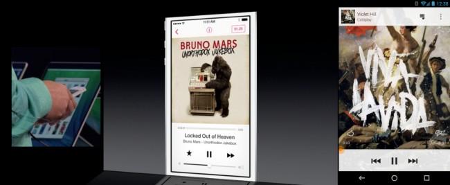 Mit iOS 7 startet Apple einen Musikstreamingdienst, dieser hält sich Designtechnisch auch sehr stark am Google Music Dienst an. Foto: Droidlife.com.