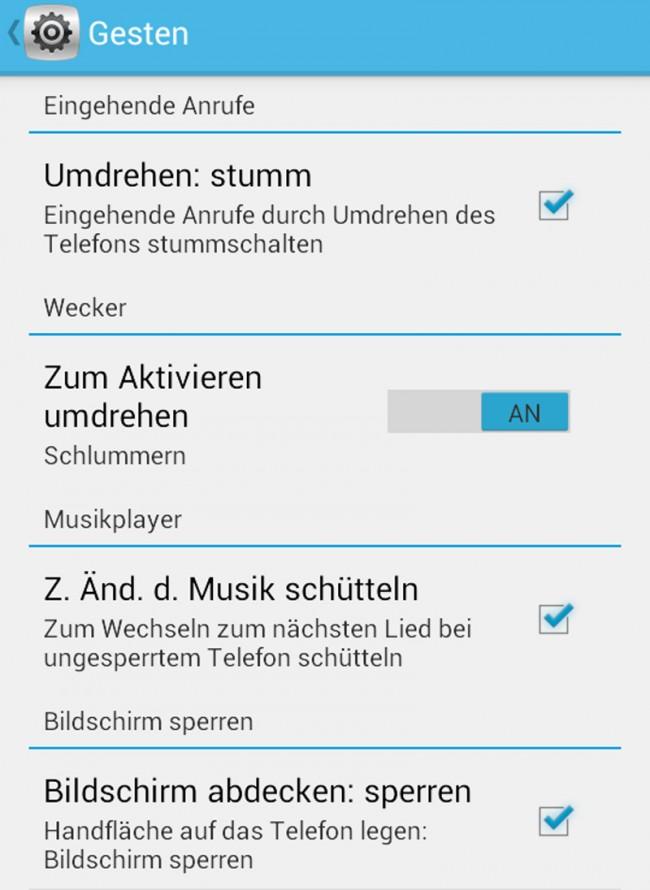 Das Alcatel One Touch Idol bietet mehrere Möglichkeiten, das Gerät mittels Gesten zu steuern.