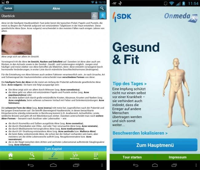 Die App bietet umfangreiche Informationen zu Gesundheitsthemen.
