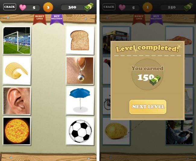Vier Bilder der linken Reihe sollst du vier Bildern der rechten Reihe zuordnen.
