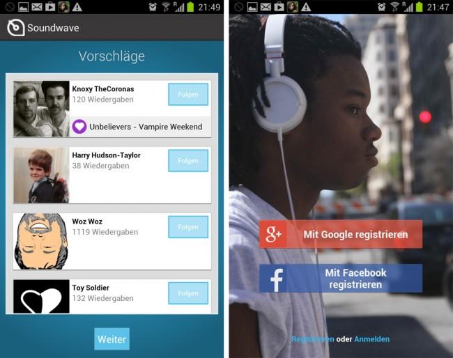 Du kannst dich mit deinem Google Plus oder deinem Facebook Konto bei Soundwve registrieren und erhältst Vorschläge passend zu deinen Freunden. Abgespielte Titel erscheinen automatisch in deinem Feed.
