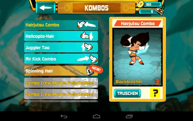 Weitere Combo-Angriffe lassen sich für jeden der vier Charaktere einzeln freischalten.