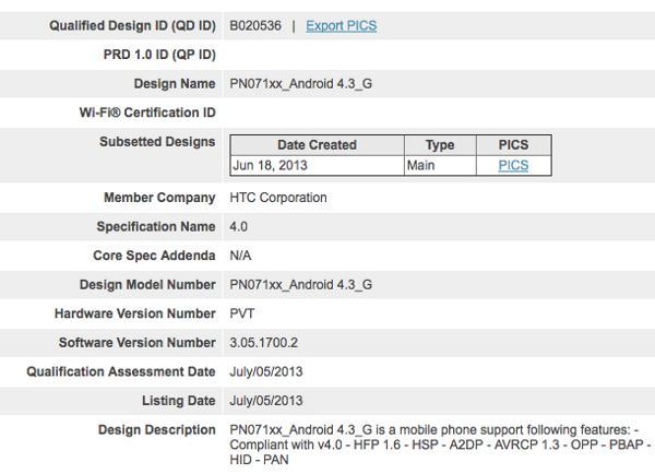 Die Bluetooth-Zertifizierungsstelle scheint das HTC One GE schon freigegeben zu haben. (Quelle: telekom-presse.at)