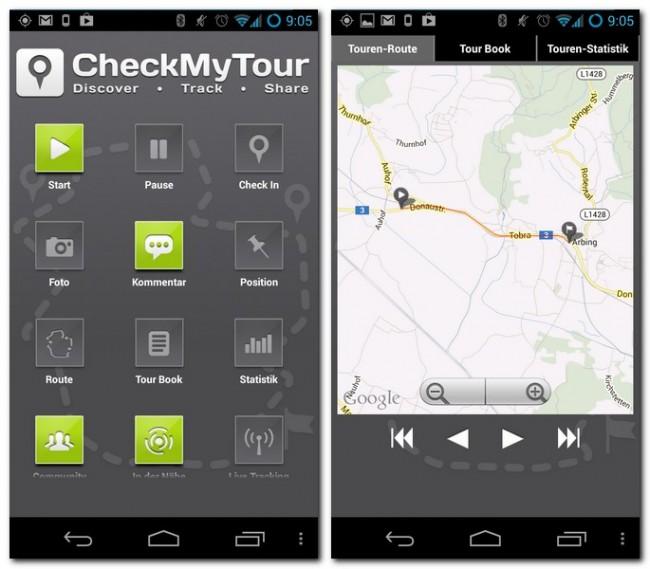 Die App CheckMyTour protokolliert deine Touren und zeigt dir die zurückgelegten Strecken auf einer Karte an.