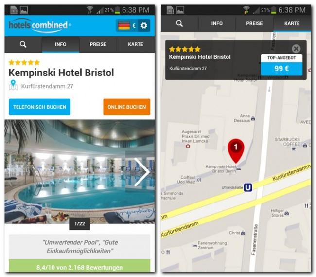 Jedes Hotel ist detailliert beschrieben, auf der Karte wird dir die genaue Position angezeigt.