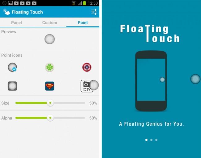 Der Startpunkt für Floating Touch lässt sich an deine Bedürfnisse anpassen.