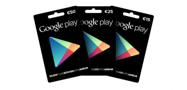 Die Google Play Gutscheinkarten kommen nun endlich auch nach Deutschland.