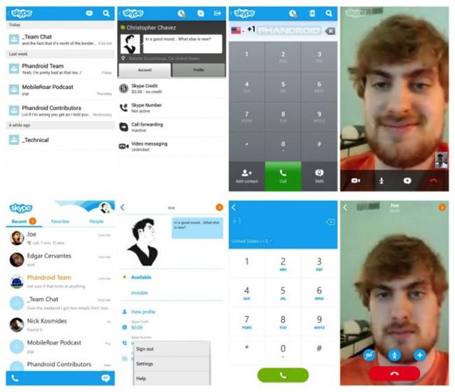 Oben: Skype vor dem Update. Unten: Skype nach dem Update. Foto Phandroid.