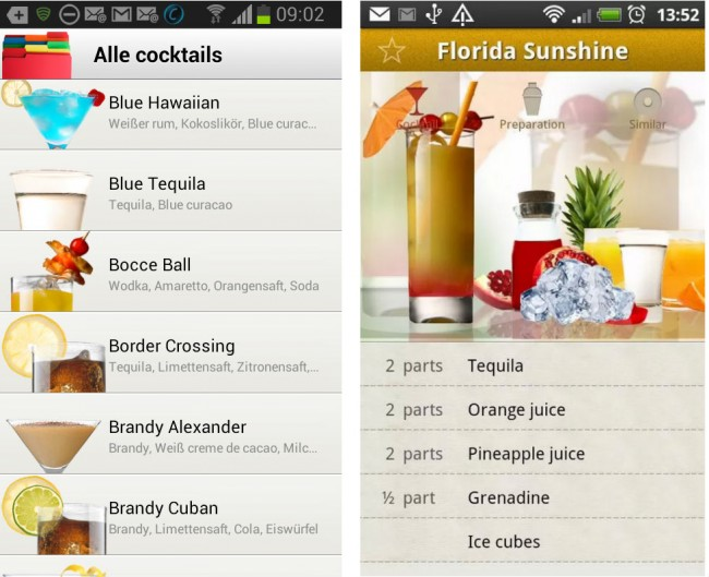 Die richtige Mischung für die verschiedenen Coktails kannst du dir mit Cocktail Flow direkt auf dein Smartphone holen.