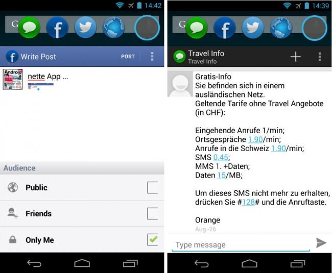 Darüber hinaus ermöglicht es dir die App, jederzeit schnell Facebook-Status-Updates sowie Twitter- und SMS-Nachrichten zu verfassen.