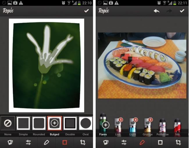 Mit diversen Rahmen und Filtern lassen sich die Bilder zusätzlich aufbessern.