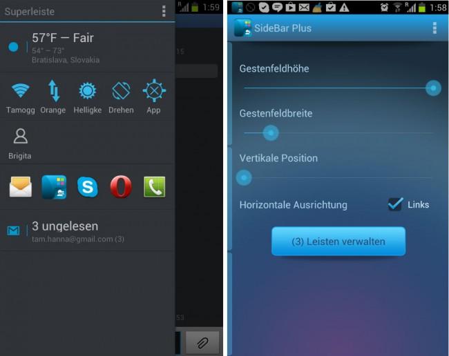"""Die App generiert ein oder mehrere als """"Bar"""" bezeichnete Menüs, die nach der Aktivierung durch eine Wischgeste auf den Bildschirm schweben."""