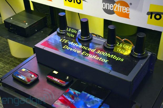 ZTE zeigt eine Datenübertragung von 300 MBit/s über das Mobilfunknetzt. Foto: Engadget.com.