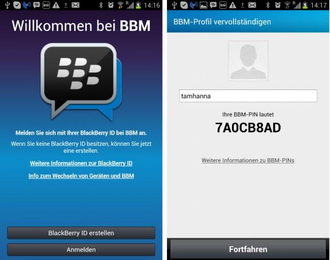 Um mit dem Messenger Erlebnis beginnen zu können muss man zuerst eine Blackberry ID anlegen.