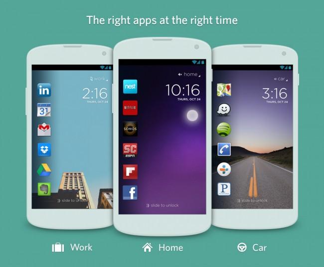 Cover will euch abhängig von Ort und Zeit die passenden Apps auf dem Lockscreen präsentieren. (Bild: Cover)