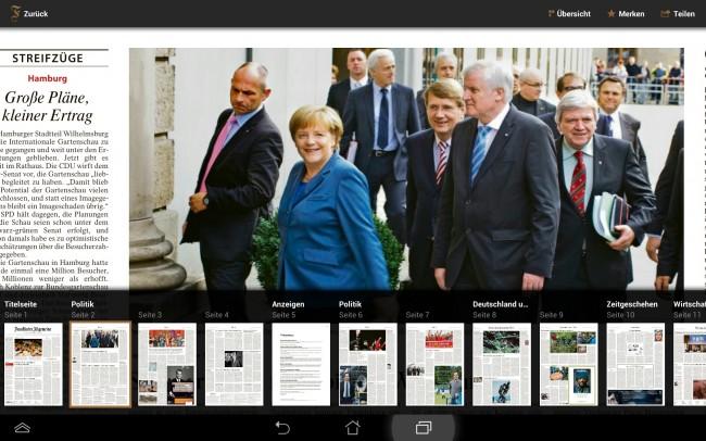 Die App richtet sich an Tablet Nutzer die die umfangreiche Berichterstattung der Frankfurter Allgemeinen Zeitung auch unterwegs nutzen möchten.