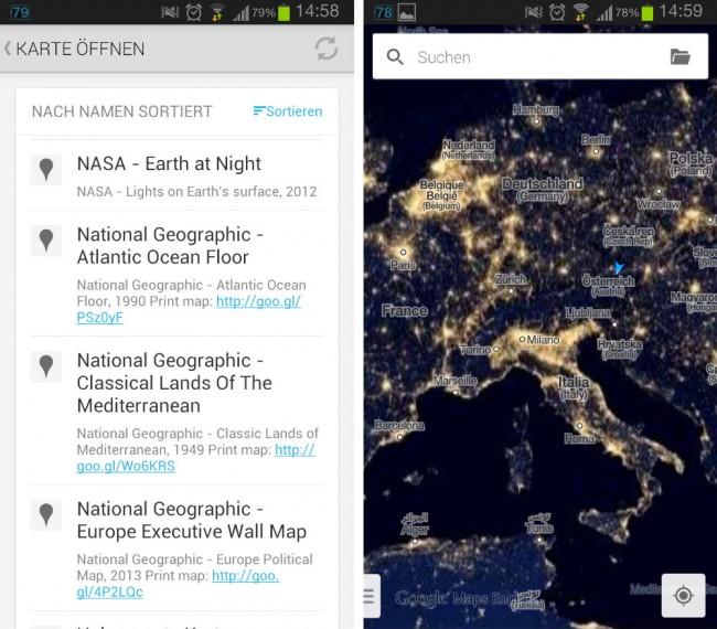 Es stehen verschiedene benutzerdefinierte Karten zur Auswahl, unter den Kartn findet sich beispielsweise auch eine Kartographie des Meeresbodens.