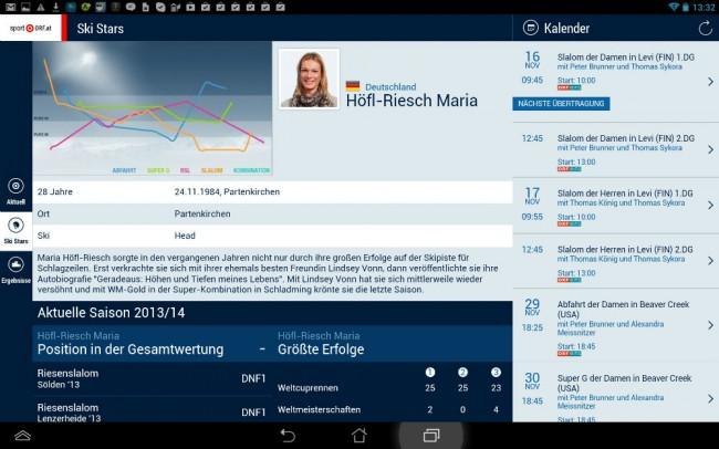 Auch Informationen über einzelne Ski-Stars sind verfügbar.