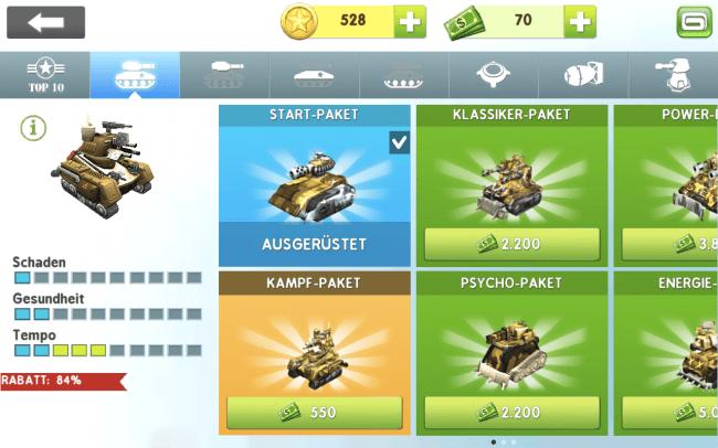 Natürlich kannst du deinen Panzer mit unterschiedlichen Waffen ausrüsten.
