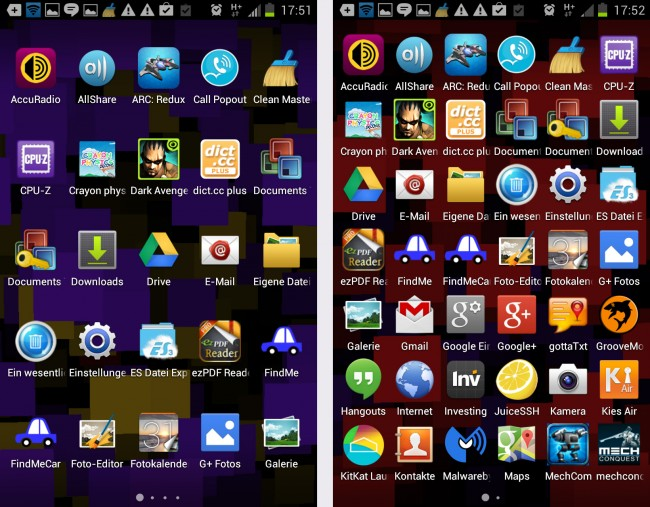 Um weniger Seiten im App-Launcher zu haben, kann man mehr Apps auf eine Seite quetschen.