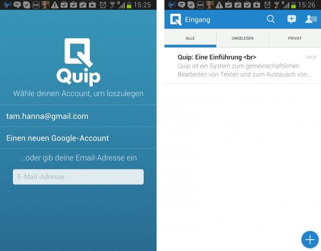 Mit Hilfe von Quip kannst du Textdateien mit Freunden und Kollegen gemeinsam verfassen und bearbeiten.