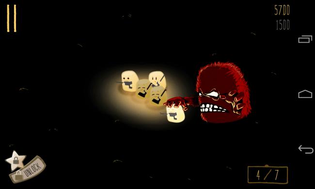 """Im Reaktionsspiel """"Hopeless: The Dark Cave"""" hilfst du kleinen gelben Tropfenwesen, sich gegen Höhlenmonster zur Wehr zu setzen."""