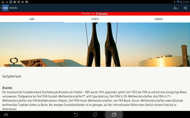 ....bis hin zu Informationen zum Gastgeberland, kann man sich alles relevante zur WM in der App ansehen.