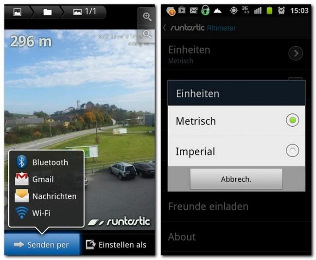 Jedes mit der Kamera-Funktion der App erstellte Foto wird mit der aktuellen Höhenmeterangabe versehen.