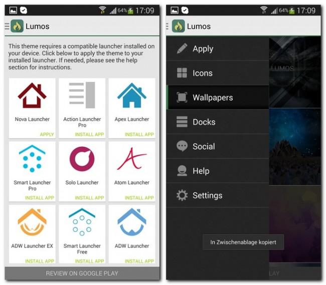 Lumos hat aber nicht nur viele neue Icons zu bieten, auch Hintergründe und Dockleisten lassen sich nach deinen Wünschen anpassen.