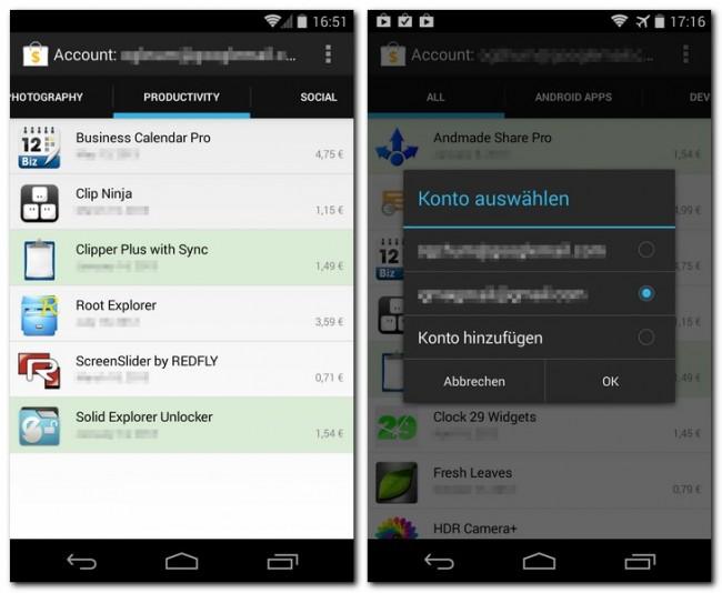 Die Software kann die Apps nach Kategorien getrennt auflisten und unterstützt mehrere Google-Konten.