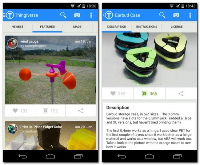 Die App Thingiverse gewährt dir Zugriff auf die gleichnamige Web-Site, die über 100.000 3-D-Druckvorlagen für nützliche oder amüsante Gegenstände bereithält.